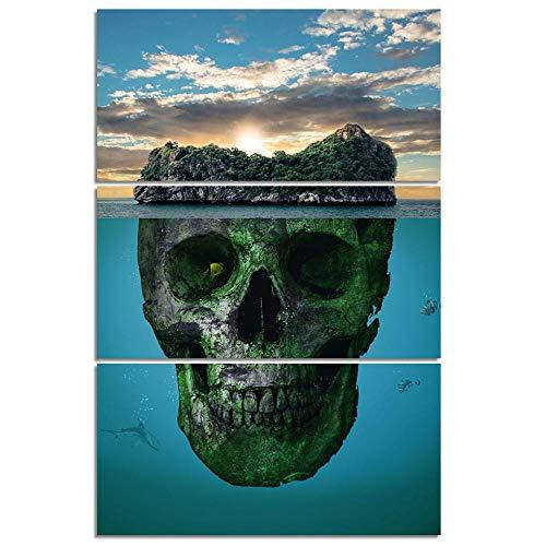 aoyukf 3 Piezas De Bragas Impresas En HD Canvas Art Skull Islands para La Decoración De La Sala De Póster E Impresiones De Imágenes-Sin Marco-40Cmx60Cmx3