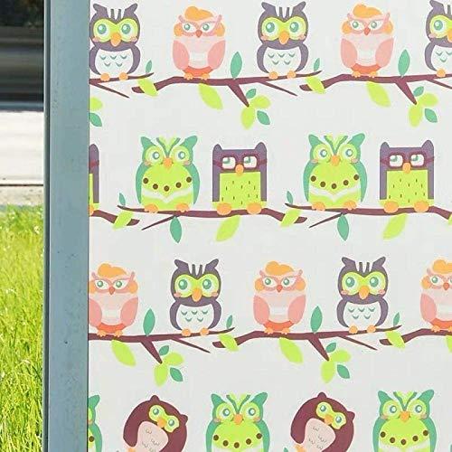 LMKJ Película de Ventana de preservación estática, patrón de búho PVC protección de privacidad Etiqueta de Vidrio de decoración del hogar, película de Vidrio de Ventana de hogar A37 50x200cm