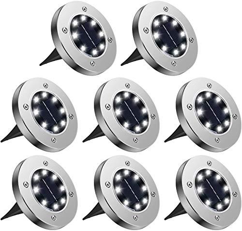 Dingde 8 Pezzi Luci Solari Giardino 8 LED, Luci LED Solari da Esterno,LED Luce Sepolta Solare IP65 Impermeabile,per Esterno,Scala,Paesaggio,Strade(Bianco)[Classe di efficienza energetica A]