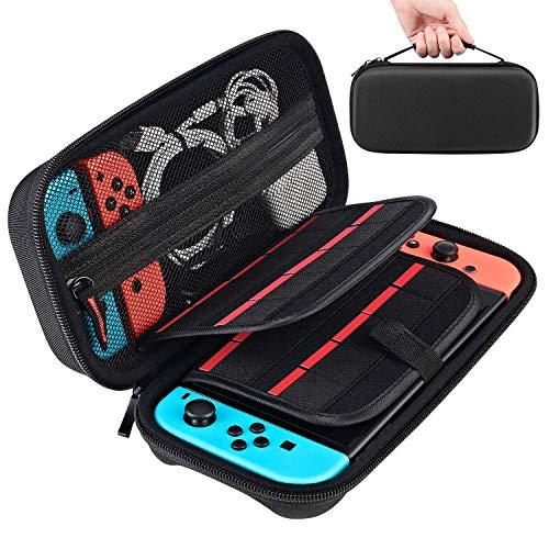 [Nintendo Switch対応・改良] Nintendo Switch専用の保護ケース, 任天堂スイッチ用のキャリングケース,外出や旅行用収納バッグ,ナイロン素材 防塵、防汚、耐衝撃 20個カート/ケーブル/イヤホンなど小物収納可(ブラック)