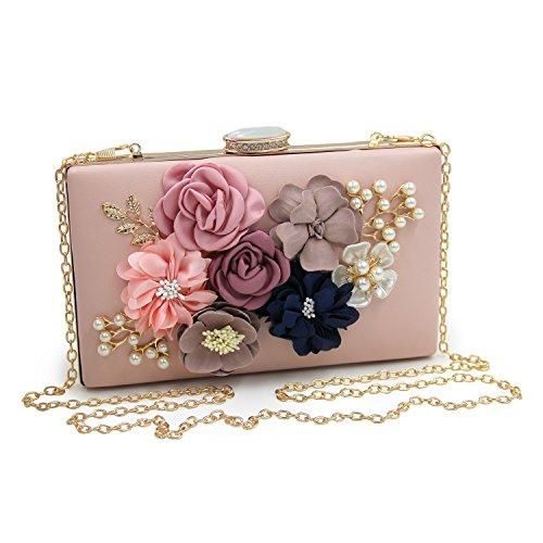 EXQUILEG Damen Blumen Clutch Abendtasche Pearl Handtasche Hochzeit Clutch Tasche (Hellrosa)