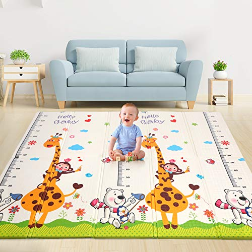 Baby Play Mat, 0.6IN Thick Playmat Folding Reversible Baby Mat with Carry Bag, Non-Toxic Soft XPE Foam Crawling Mat for Baby, Large Water-Proof Floor Mat for Infant, Kids, Toddler, BPA-Free, 77.5x70in