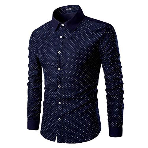 AOWOFS Herren Gepunktet Hemd aus Baumwolle Freizeit Regular Fit Langarm Businesshemd Muster Bügelfrei