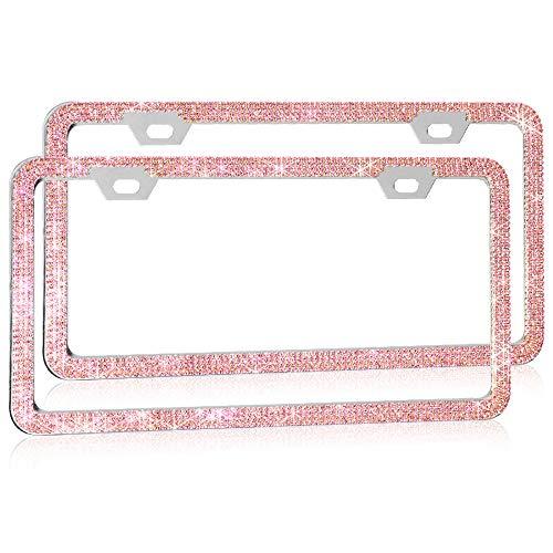 Pack of 2 Luxury Crystal Neon Color Deselen Bling License Plate Frame for Women