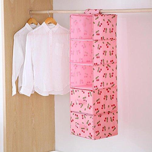Pink Cherry Pattern Drawer Wardrobe Sac de rangement Hanging Clothing Sous-vêtements Sac de rangement Five Layers (27 * 28 * 102cm) Rollsnownow (Couleur : Two drawers)