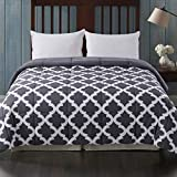 Cosybay Queen Comforter, Grey Printed and Grey Reversible Down Alternative Comforter, All Season Lightweight Duvet Insert, Double Sided(88×92 Inch)