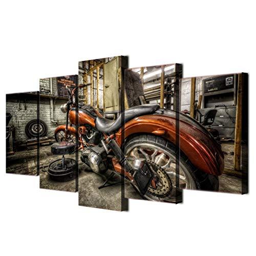 RKSZD 5 canvas schilderijen Modulaire Canvas Art Muurfoto's Home Decor Foto 5 Stuks Motorfiets Race Poster Auto Olie Schilderen Woonkamer