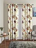 Home Sizzler 3D Flower 2 Piece Brown Door Curtain, 7 feet