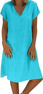 Vestido de Lino de Verano de Las Mujer Cuello Redondo de Color sólido Simple de Gran tamaño y Manga Corta Vestir Blusa Top...