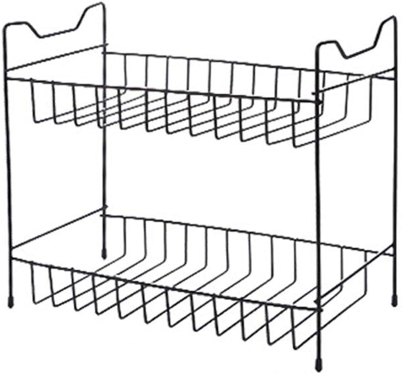 C-K-P Shelf Multi-Layer Seasoning Storage Rack Wrought Iron Kitchen Floor Storage Rack Seasoning Bottle Shelf (color   Black, Size   34X16X30cm)