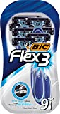 BIC RAZORS Flex3 Maquinillas Desechables Para Hombre - Paquete De 3 Packs De 3, 9 Unidad