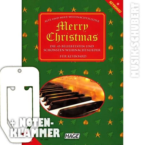 Merry Christmas incl. praktische notenklem - 45 oude en nieuwe kerstliedjes van alle jaren weer tot last Christmas en WINTER WONDERLAND licht gearrangeerd voor keyboard met volledige tekst. (broched) van Rainer Pink en Helmut Hage (noten/sheetmusic)
