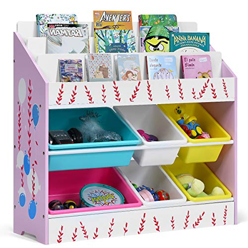 COSTWAY Bücherregal Kinder 83 x 28 x 80cm, Spielzeugregal Mädchen, Kinderregal für Spielzeug, Aufbewahrungsregal, Spielzeug Organizer mit 6 Aufbewahrungsboxen, ideal für Kinderzimmer und Kindergarten