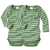 WELLYOU Conjunto de 2 Bodys Mangas largas para bebés/niños, Conjunto de 2 Color Verde con Rayas Blancas. Tallas 50-134 (116-122)