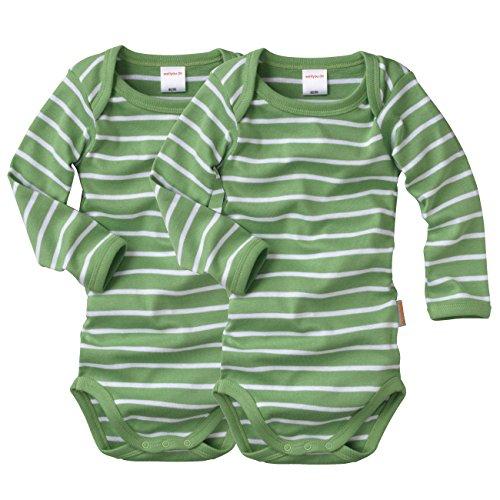 WELLYOU, 2er Set Kinder Baby-Body Langarm-Body, grün weiß gestreift, Geringelt, Feinripp 100% Baumwolle, Größe 104-110