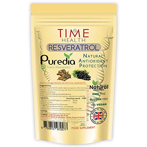 Trans Resveratrol - Premium Brand Puredia - 180 Capsules - 3 Month Supply - Effective Split Dose for Maximum Benefits from Trans-Resveratrol - UK Manufactured - Zero Additives