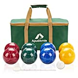 ApudArmis Bocce Balls Set, Regulation Size 100mm Bocce Game for Outdoor/Backyard/Lawn/Beach with 8 PCS 100% Resin Balls / 1 Pallino/Nylon Carrying Case/Measuring Rope
