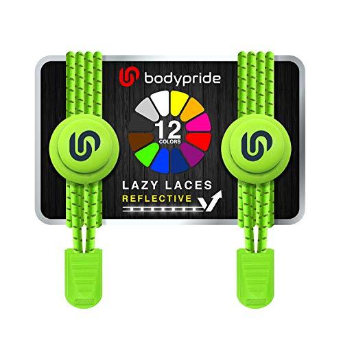 bodypride Premium Lazy Laces [ 12 Farben ] Elastische Schnellverschluss - Schnürsenkel ohne Binden | Schnellschnürsystem mit Reflektoren für Sport, Marathon, Triathlon, Kinder, Senioren | Neon Grün
