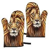 AEMAPE A Big Lion Head Oven Mitts, 2pcs Guantes de Horno de Barbacoa de microondas a Prueba de Calor, Guantes de Cocina Guantes de Cocina Resistentes al Calor