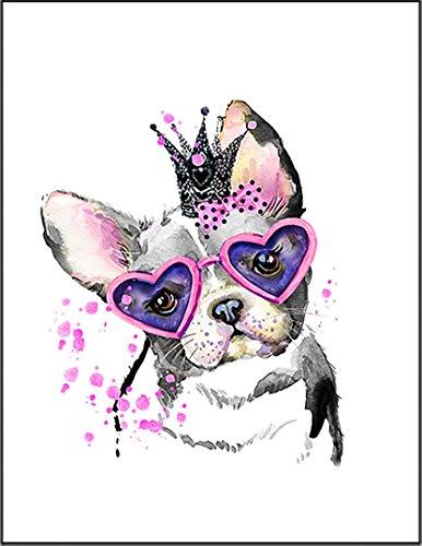 【かわいいメガネをかけた犬 ブルドッグ】 ポストカード・はがき(白背景)