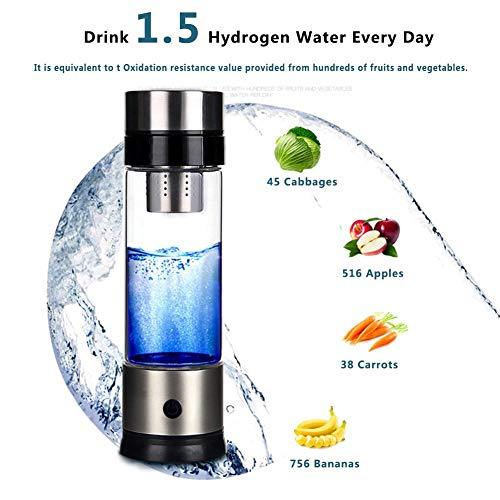 OTENGD Wasserstoff-Wasserflaschengenerator, Glas-Wasserionisierer mit Neuer Technologie, 700-1000PPB, Glas mit hohem Borosilikatgehalt, für Büros, Wohnungen, Reisen