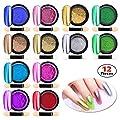 Chrome Nail Powder Metallic Nail Art Powder, Mirror Effect Manicure Pigment Laser Synthetic Resin Powder