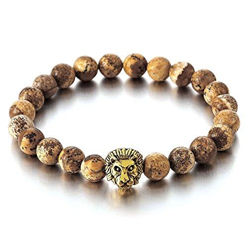 COOLSTEELANDBEYOND Perla Cuentas Pulsera de Hombre Mujer con 9MM Piedra Preciosa y Color Oro Cabeza de León, Brazalete, Prayer Mala