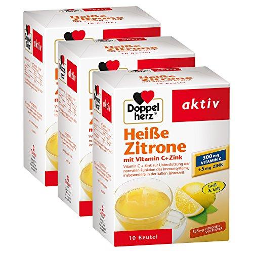Doppelherz Heiße Zitrone – Vitamin C und Zink zur Unterstützung der normalen Funktion des Immunsystems – 3 x 10 Beutel