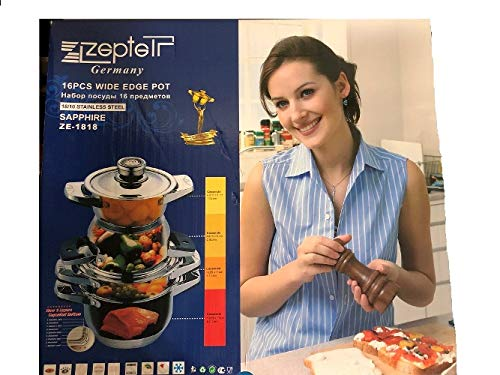 ZEPTER SAPPHIRE STAINLESS STEEL COOKING SET, ZE-1818, 16 PCS WITH CERTIFICATE