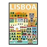 GUICAI Póster de Viaje de Lisboa Portugal Imagen telón de Fondo decoración de la Pared decoración de la Sala de Estar del hogar-50X70 cm sin Marco 1 Uds