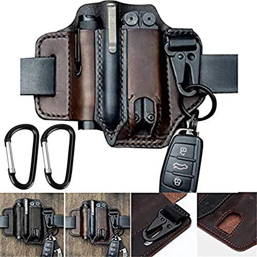 Multitool Leather Sheath EDC Pocket Organizer, EDC Lederscheide Organizer, Werkzeug Holster Leder, Messergürtel, Taschenlampenholster, Organizerscheide mit 3 Taschen, High Leather Quality (Braun)