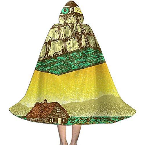 OKME Custom Cape Zauberer,Dreieck-Pyramide Mustert Dorf-Mantel-Umhang Für Halloween-Weihnachtsfest 118cm