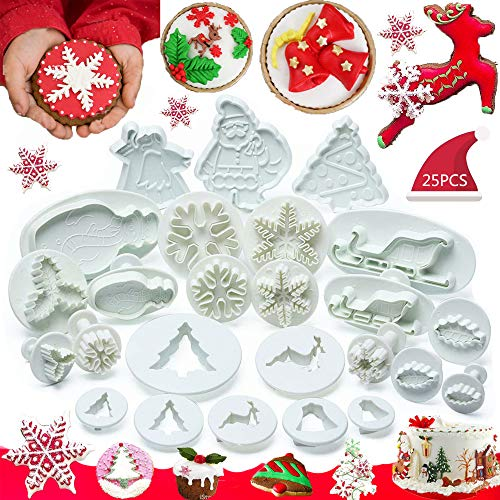 Olywee Christmas Cookie Cutter Set 25 Pieces Cake Decorating Tools Fondant Plunger Cutters and Molds for Cupcake Snowman Tree Snowflake Sleigh Decor Mould