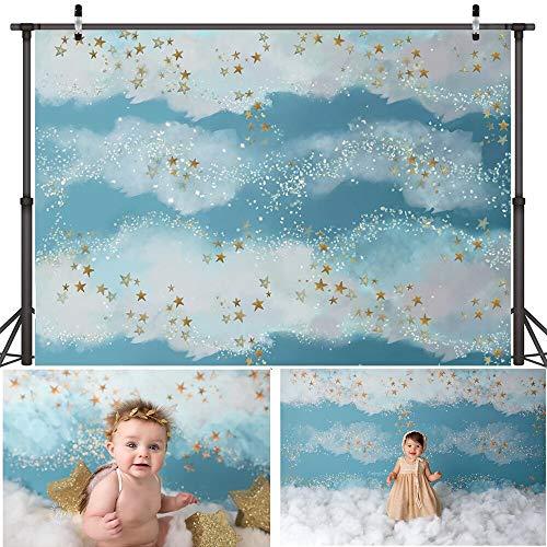 Fondo fotográfico artístico arcoíris Dorado centelleante Estrella pequeña soñadora Dulce niños cumpleaños telón de Fondo para Estudio fotográfico A18 10x7ft / 3x2,2 m