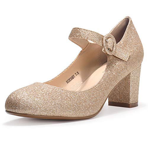 IDIFU Women's Candy Mary Jane Shoes Low Chunky Block Heels Round Toe Office Work Homecoming Pumps(Gold Glitter, 8)