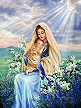 Full Drill Diamond Painting Virgin Mary Baby by Number Kits, 5D DIY Diamond Embroidery Crystal Rhinestone Cross Stitch Mosaic Paintings Arts Craft for Home Wall Decor(12X16inch/30X40CM)