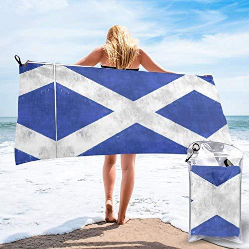 FLDONG Toalla de baño de microfibra de secado rápido con impresión retro escocesa, ultra suave, compacta, adecuada para camping, gimnasio, playa, hogar, 81.5 x 150 cm