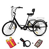 Adult Tricycle Bike,7 Speed 24 Inch Tricycle with Basket,Adult Training Wheels for Bikes-Adult