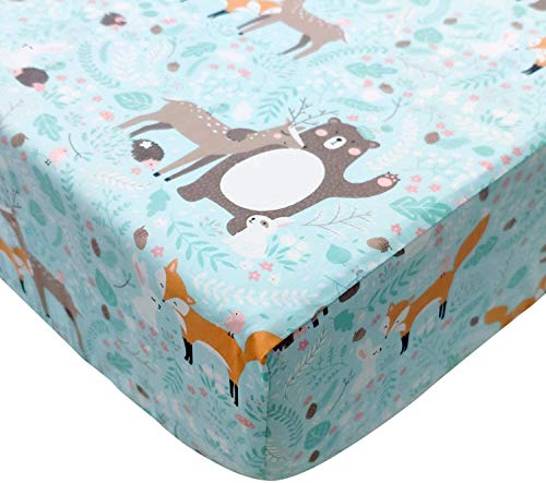 TEALP Baby Cot Fitted Sheets 100% Cotton, Blue Bear (60 x 120 cm)