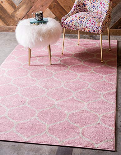 Unique Loom Trellis Frieze Collection Lattice Moroccan Geometric Modern Pink Area Rug (8' 0 x 10' 0)