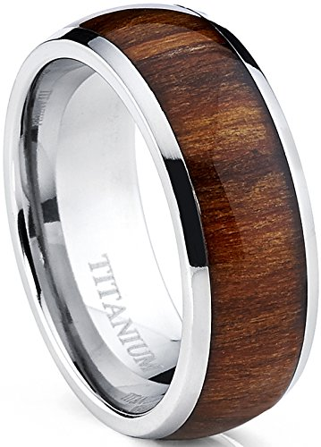 Metal Masters Co. Men's Titanium Ring Wedding Band, Engagement Ring with Real Wood Inlay, 8mm Comfort Fit Size 10