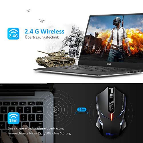 TOPELEK Laptop Maus, Gaming Maus mit 2.4 G 2400 DPI, 7 Tasten, Mute-Maus Funkmaus Funk Wireless-maus mouse Für PC Laptop