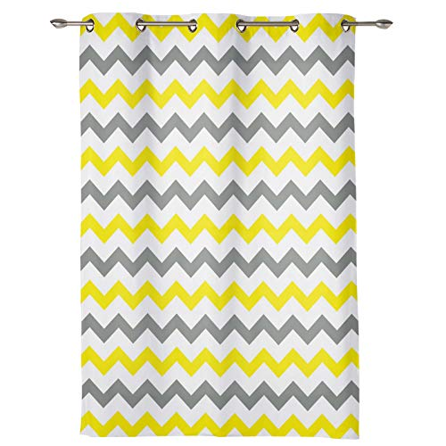Window Treatment Curtain 63 Inch Length-Chic Window Drapes Panel for Living Room Bedroom- Yellow,Gray and White Chevron Zig Zag Pattern Patterned Polyester Fabric Draperies