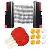 Coriver Juego de Tenis de Mesa portátil con Red retráctil Ping Pong Juego de Red con 2 Palas y 9 Pelotas, 1 Bolsa de Almacenamiento, Exterior y hogar, Juego de Oficina, Palas de Entrenamiento