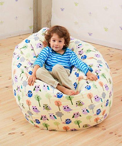 Joyfill Sitzsack mit Bezug, Stuhl für Kinder und Erwachsene, Weicher Stoff, 240L groß - 558 Happy Dots beige
