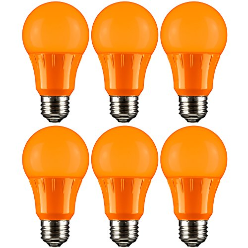 Sunlite A19/3W/O/LED/6PK LED A19 Colored Light Bulb, 3 Watts (25w Equivalent), E26 Medium Base, Non-Dimmable, UL Listed, 6 Pack, Orange, 6 Count