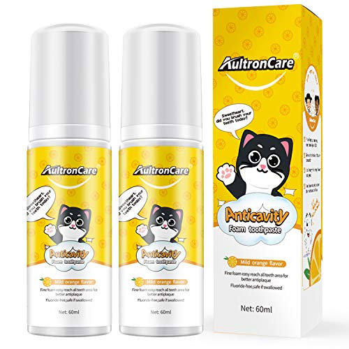 Kids Foam Toothpaste,2 Pack Fluoride Free Anticavity Toothpaste with Orange Flavor,60ml Bubble Toothpaste for Children's Electric Toothbrush,Auto Brush (New 2021 Formula)
