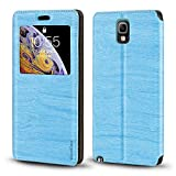 Schutzhülle für Samsung Galaxy Note 3 Neo LTE+ N7505, luxuriös, Holzmaserung, Leder, Kartenfach, Sichtfenster, himmelblau