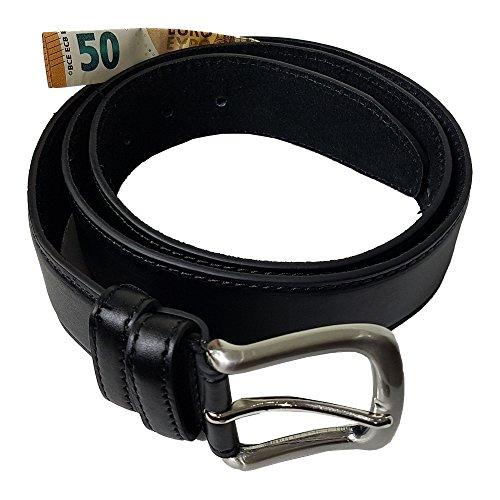 Einkaufszauber Echt Leder Gürtel mit Geheimfach Schwarz Geldgürtel Tresorgürtel (115)