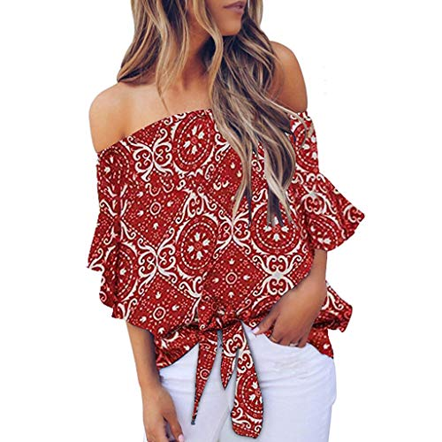 Find Discount Lovor Sun Flower Summer Off The Shoulder Tops for Women 3/4 Ruffle Sleeve Sexy Floral ...